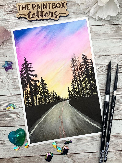 Road Trip Sunset Watercolor Painting