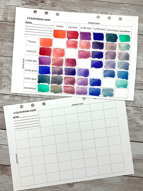 Printable Watercolor 6 Color Mixing Chart