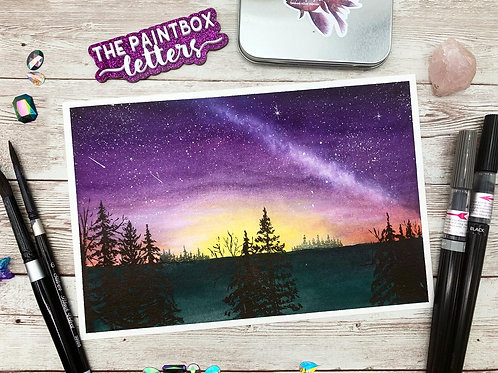 Purple Milky Way Watercolor Painting