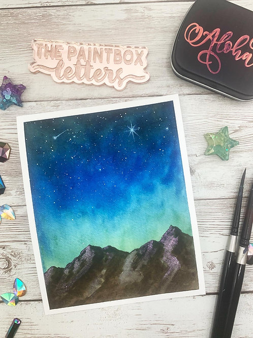 Moonlight Mountain Watercolor Painting