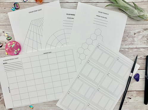 Printable Swatch Sheets + Color Mixing Charts