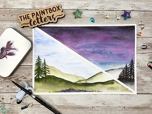 Split Mountain Landscape Watercolor Painting