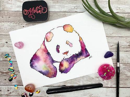 Panda Love Watercolor Painting