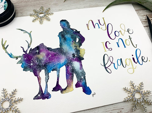 Kristoff and Sven Watercolor Painting