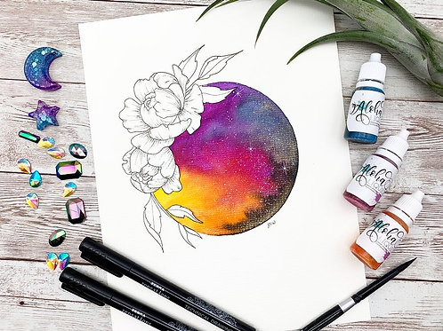 Peony Galaxy Watercolor Painting