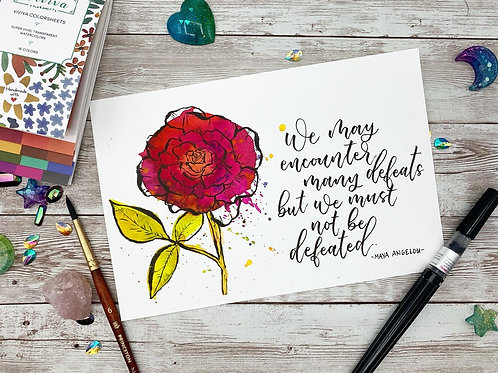 Maya Angelous Quote Watercolor Painting