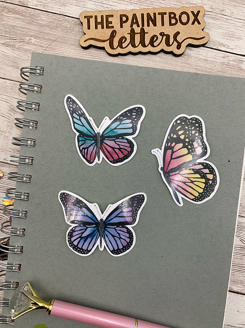Set of 3 Butterfly Vinyl Stickers