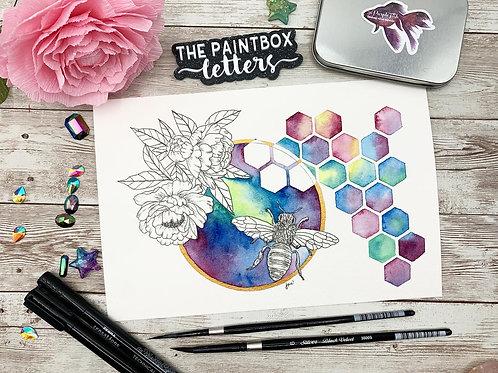 Honey Bee Watercolor Painting
