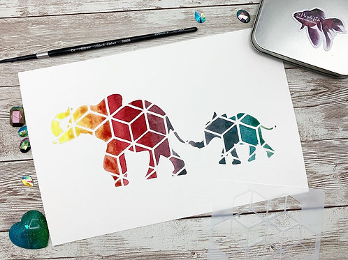Elephant Love Watercolor Painting