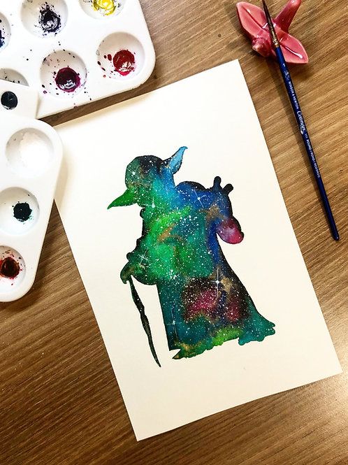 Yoda Ink and Watercolor Painting