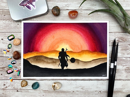 Mando and The Child Watercolor Painting
