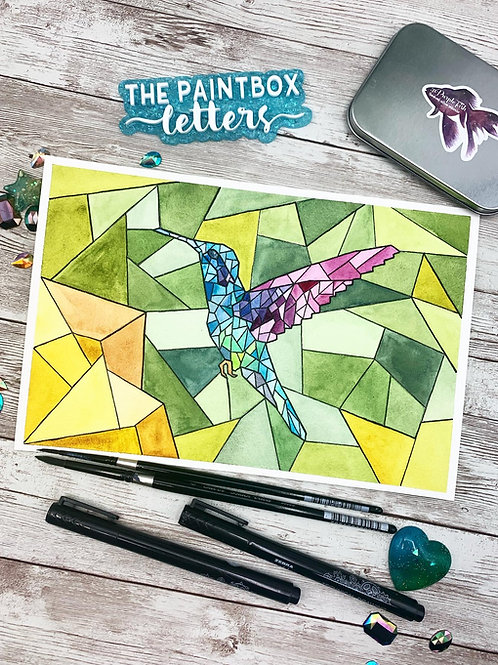 Stained Glass Hummingbird Watercolor Painting