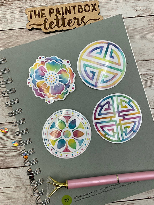 Set of 4 Korean Pattern Vinyl Stickers