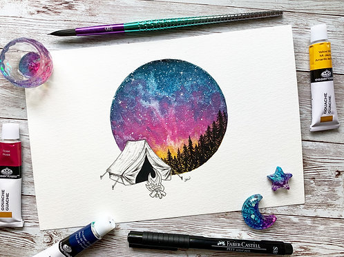 Camping Love Watercolor Painting