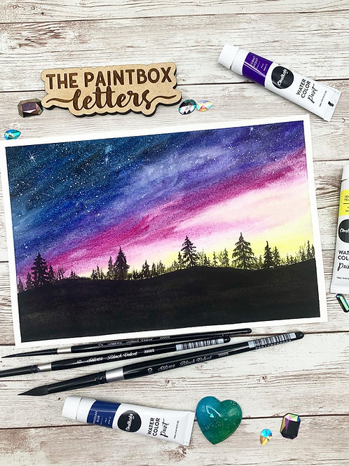 Cloudy Sunset Watercolor Painting