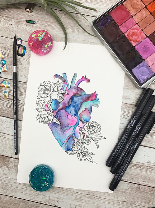 Anatomical Heart Watercolor Painting