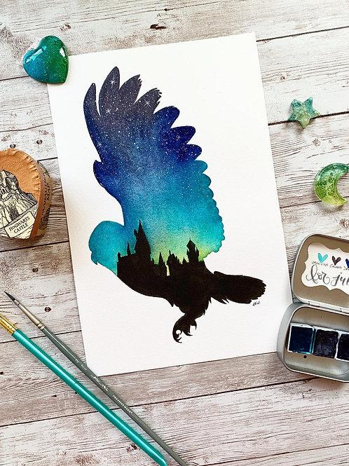 Hedwig at Hogwarts Watercolor Painting