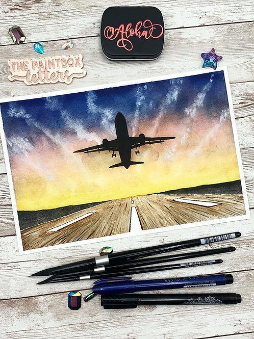 Leaving on a Jet Plane Watercolor Painting