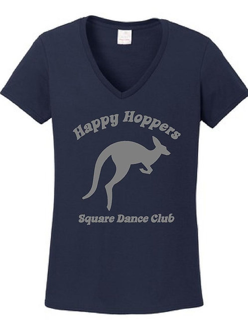 Happy Hoppers Ladies V-neck Tshirt