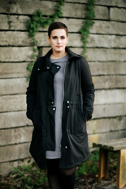 Black long softshell coat