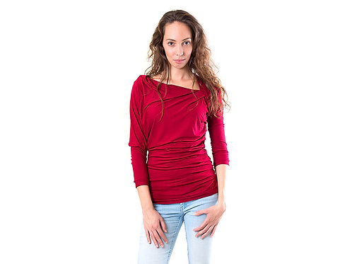 Asymmetric dark red draped jersey top LOOSE