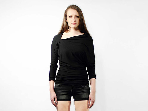 Asymmetric black draped jersey top LOOSE