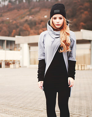 Grey black drapey sweatshirt LONG