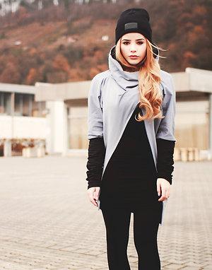 Grey black drapey sweatshirt LONG