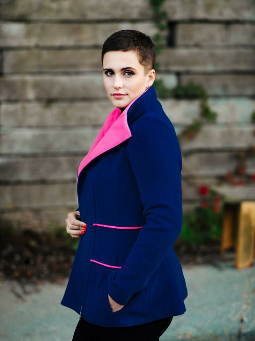 Blue with pink wool coat