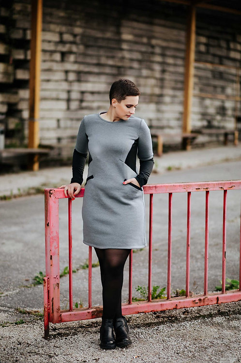 Dark grey geometric dress