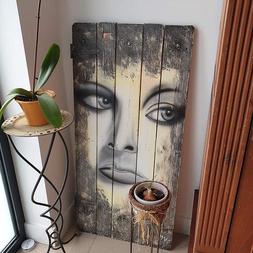 Decoratiedeurtje met portret (airbrush)