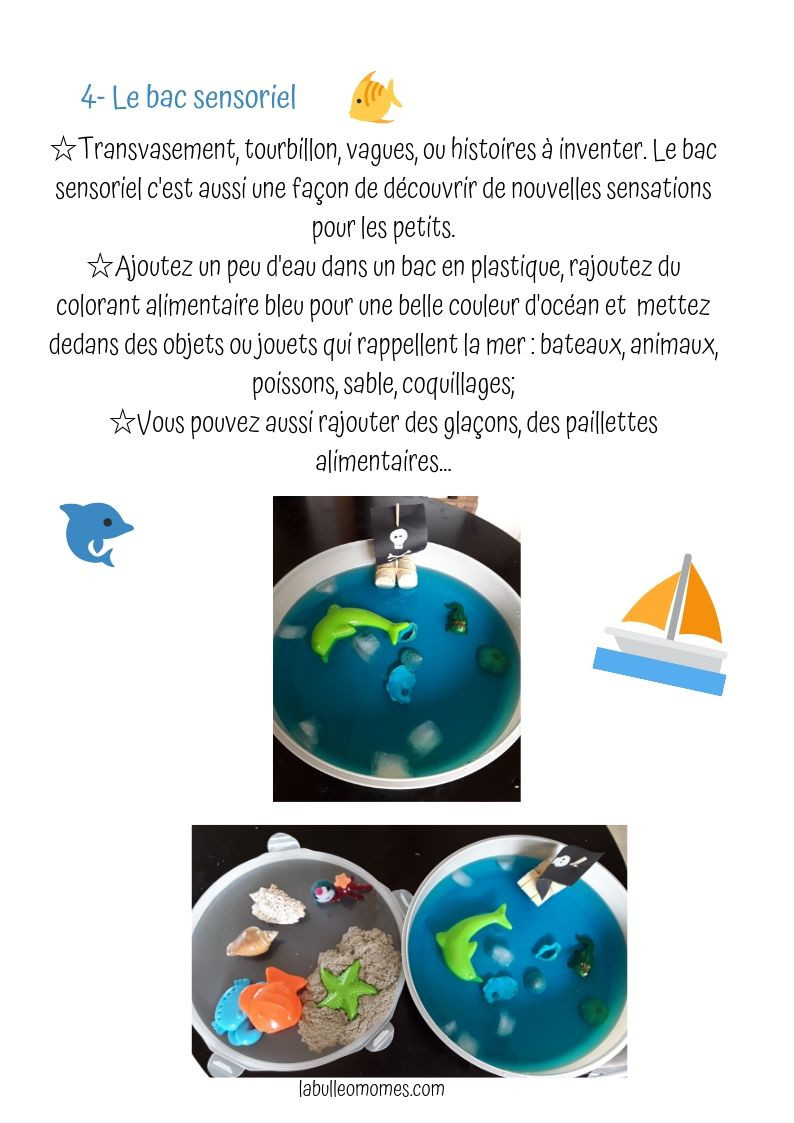 Idée d'activité enfant quand il fait chaud : le bac sensoriel de la mer