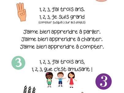 """Petite comptine illustrée - """"1,2,3, j'ai trois ans"""""""