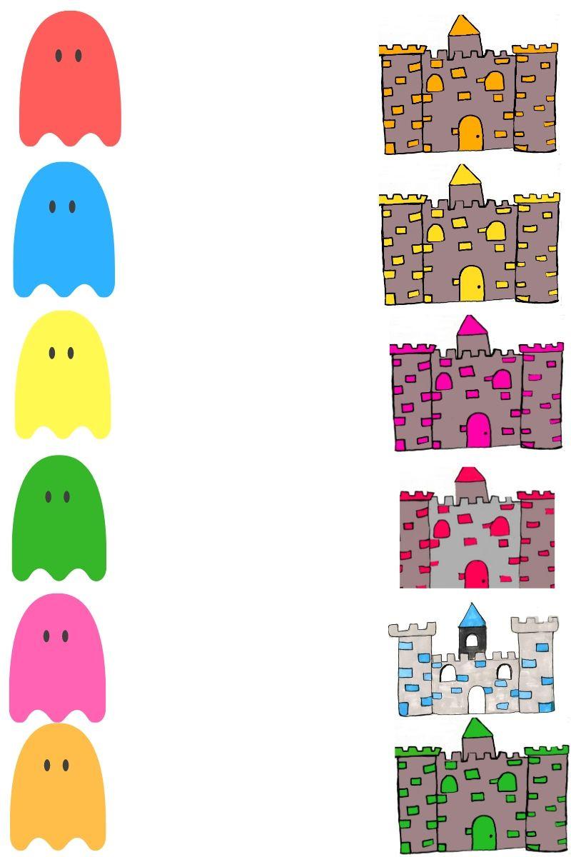 Relie les fantômes au château de la couleur correspondante -Jeu- La Bulle ô Mômes