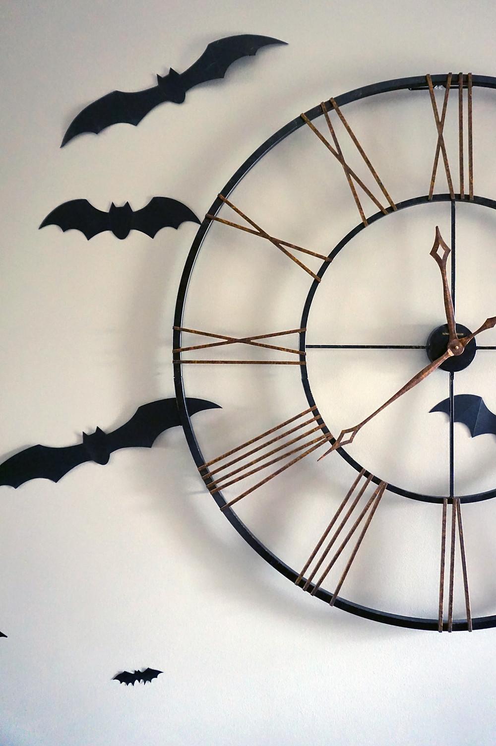 EH Design Blog - Halloween Decorations - Bats around the Clock Close Up
