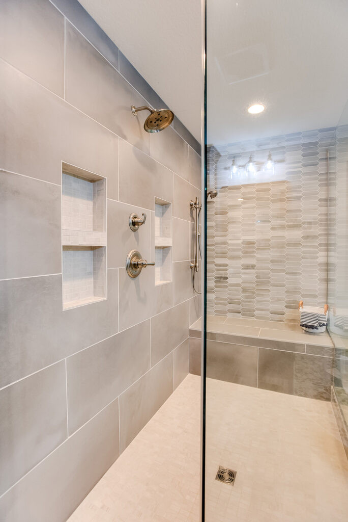 Wider view of the shower at the EH Design Norwood master bathroom