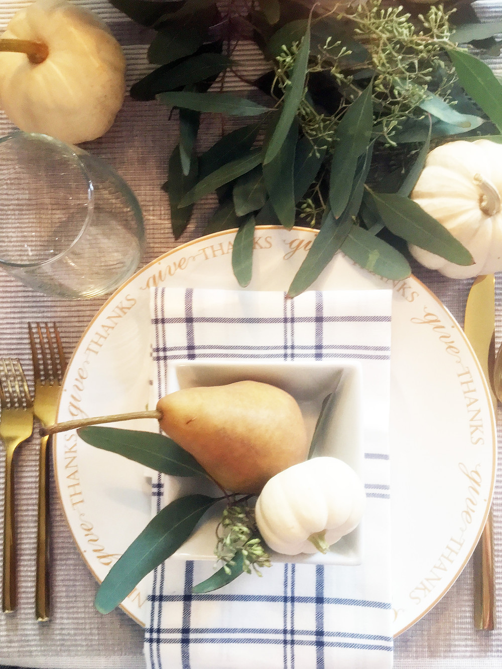 Fall Decor - EH Design Blog - Dining Room - Aerial of place setting