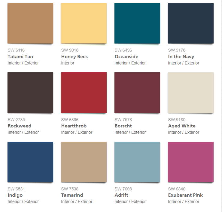 Sherwin Williams Color Palette 2018 - Unity
