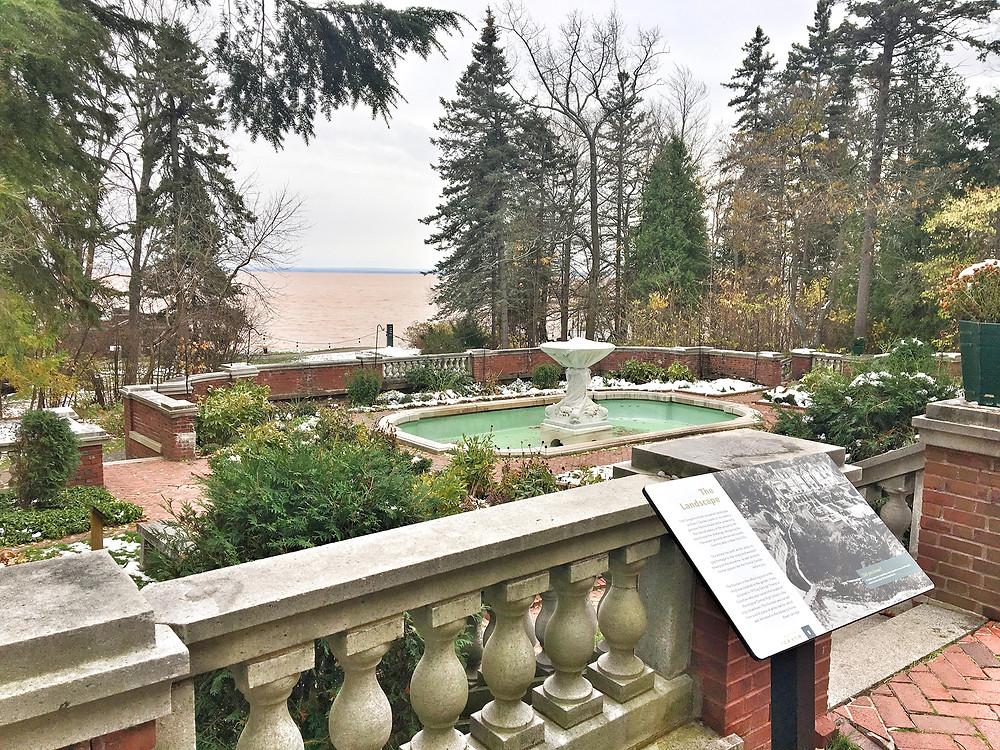 EH Design Blog - Glensheen Mansion - Exterior of Garden and Fountain Looking over Lake Superior