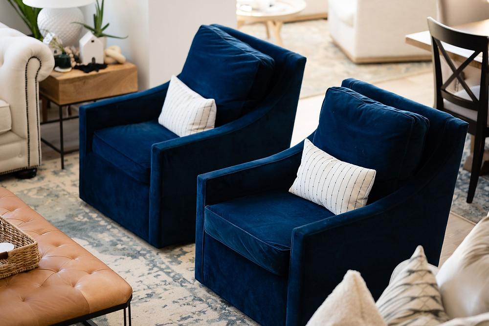 Deep Navy Velvet Swivel Chairs