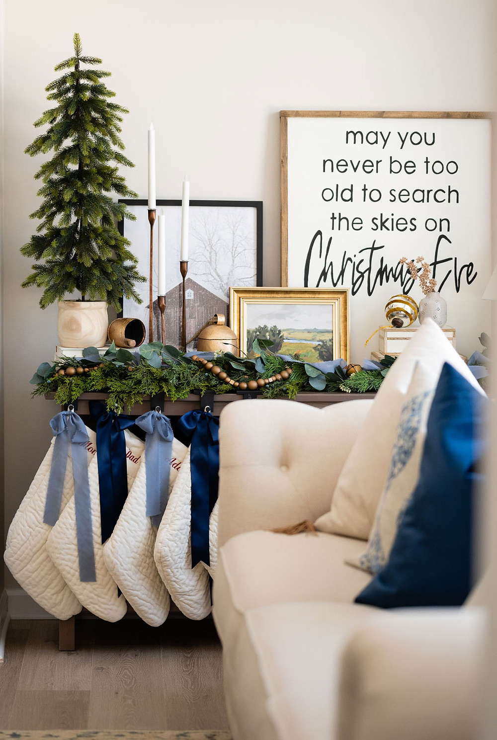 Christmas decorations and stockings