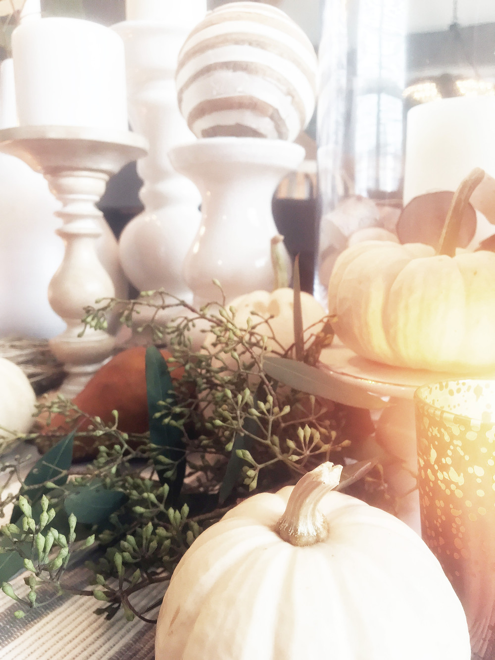 Fall Decor - EH Design Blog - Dining Room - Close up of Tablescape
