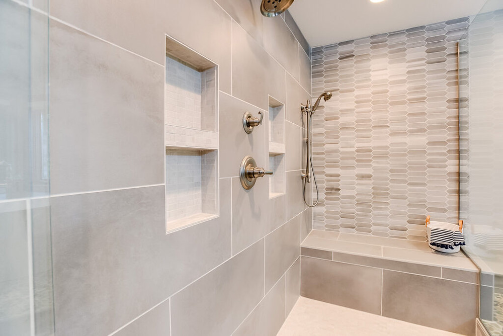 Shower shot of the Norwood master Bathroom Project | EH Design