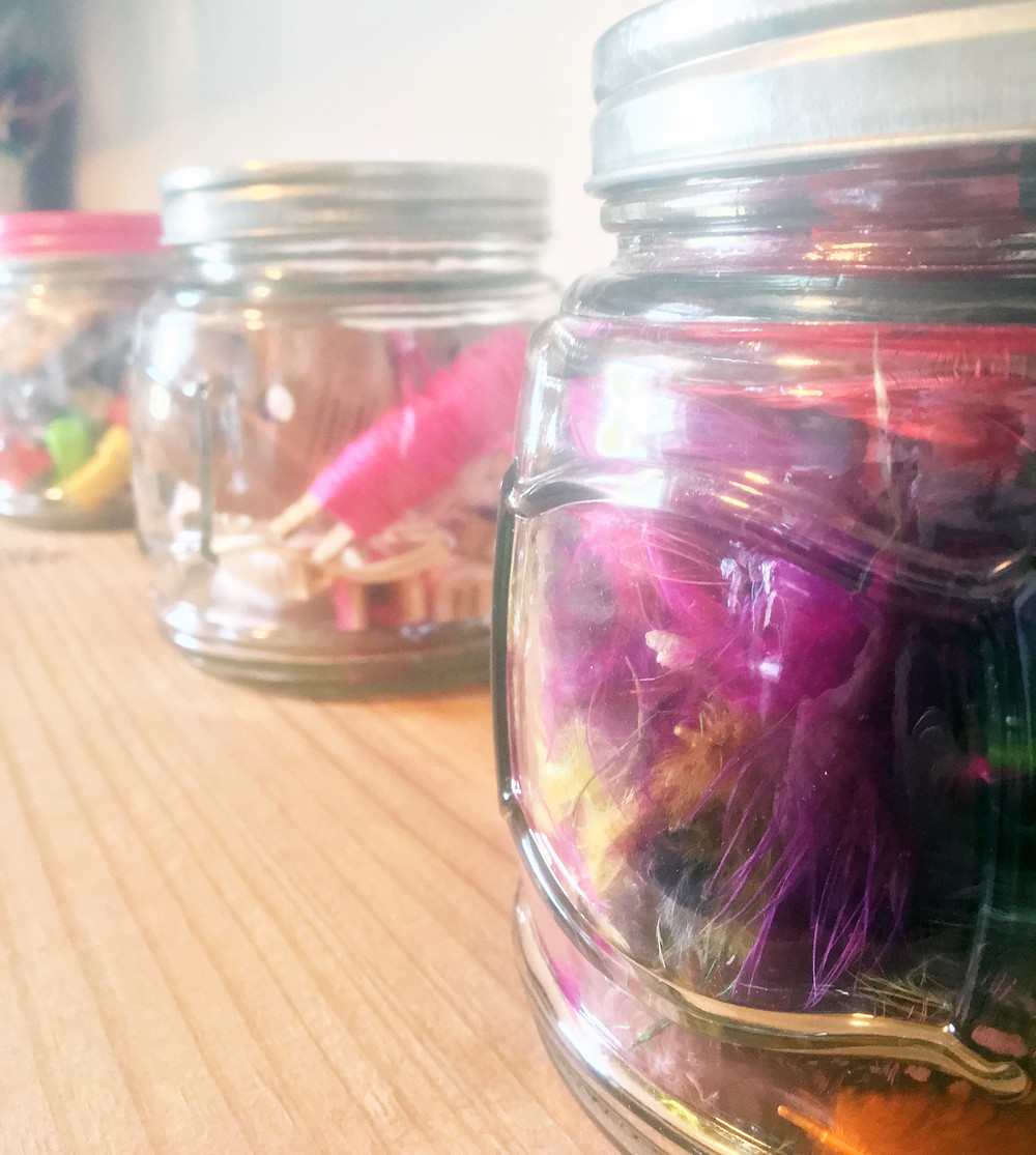 Tiny Art Room - EH Design Blog - Close Up to feathers and jars