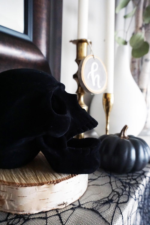 EH Design Blog - Halloween Decorations - Close up of black felt skull