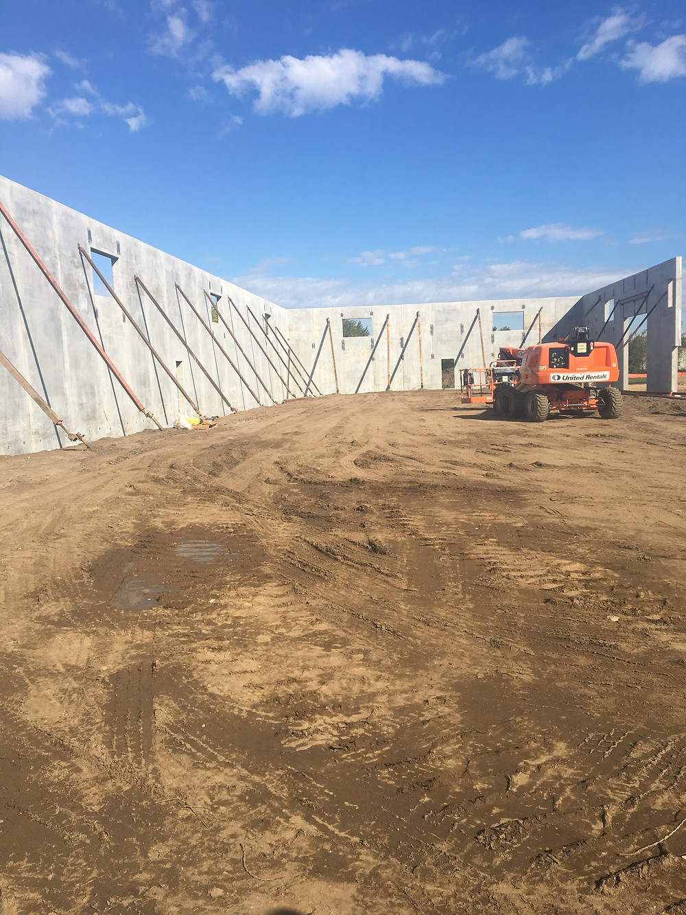 EH Design Blog - Commercial Project - RTL - Exterior Precast Walls Going up - Interior View of Walls  with braces