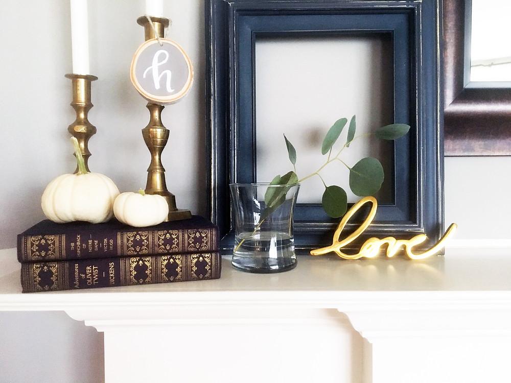 Fall Decor - EH Design Blog - Family Room - Mantel - Close Up of LOVE