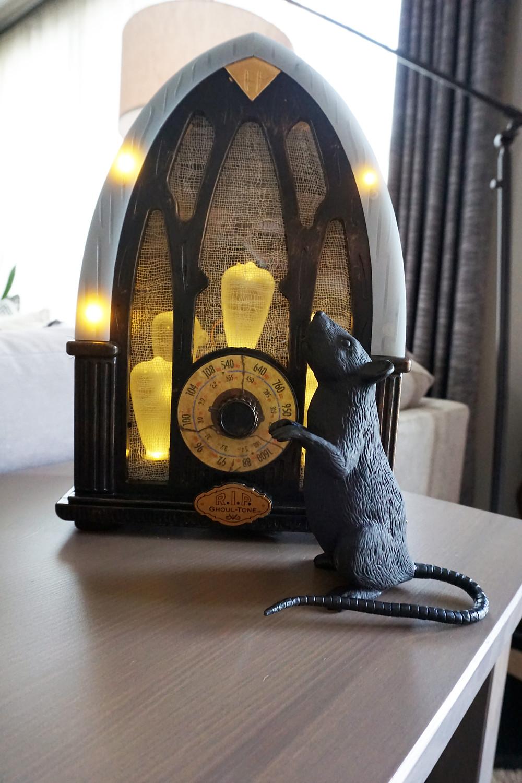 EH Design Blog - Halloween Decorations - close up to radio and rat