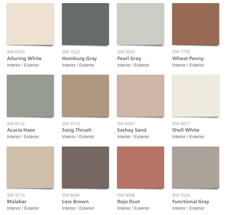 Sherwin Williams Color Palette 2018 - Sincerity
