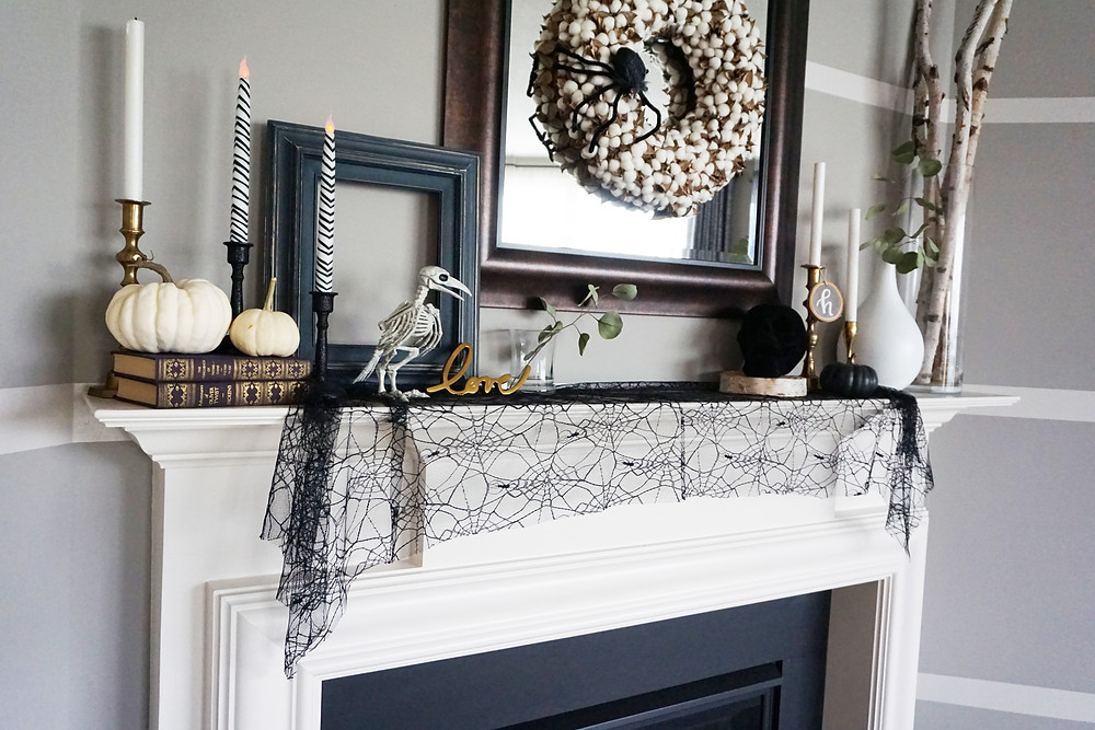 EH Design Blog - Halloween Decorations - View of fireplace Halloween decorations - side angle
